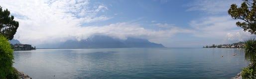 Montreux, vista panoramica del lago Ginevra Fotografia Stock Libera da Diritti