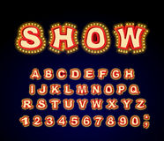 Montrez la police Lettres de lampe à lueur Rétro alphabet avec des lampes Vint Images libres de droits