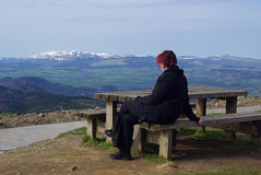 Monts Dore. Young woman in holiday, in Europe, a famous landscape in France, Auvergne, mountains Monts Dore Stock Photos