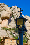 Montsarat Monastery Street Light. Montsarat monetarily building on top of a mountain outside of Barcelona, Spain royalty free stock images