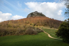 Montsegur castle in  French Pyrenees Stock Image