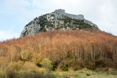 Montsegur castle in  French Pyrenees Royalty Free Stock Image