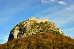 Montsegur cathar castle in France Stock Photography