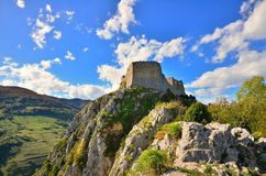 Montsegur cathar castle in France royalty free stock image