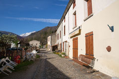 Montsegur village in French Pyrenees Stock Photos