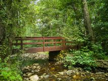 forest bridge over creek in Montseny mountain Royalty Free Stock Photo