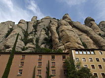 Montserrat. Is a mountain near Barcelona, in Catalonia. It is the site of a Benedictine abbey, Santa Maria de , which hosts the Virgin of  sanctuary Royalty Free Stock Photo