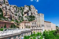 Montserrat Abbey och berg nära Barcelona, i Catalonia Fotografering för Bildbyråer