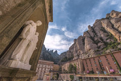Montserrat Abbey Yard. Montserrat abbey vicinity. Catalonia, Spain Stock Photo