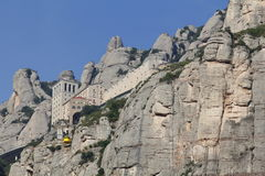 Montserrat and aerial cable car Stock Images