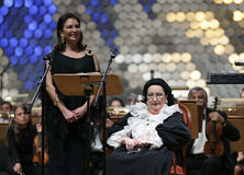 Montserrat Caballe opera. Sofia, Bulgaria - October 10, 2016: Montserrat Caballe sings with her daughter Marti Caballe and the orchestra during a concert in royalty free stock photo