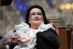 Montserrat Caballe opera. Sofia, Bulgaria - October 10, 2016: Montserrat Caballe sings with the orchestra during a concert in National Palace of Culture royalty free stock photo