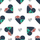 Montserrat flag patriotic seamless pattern. National flag in the shape of heart. Vector illustration Stock Images