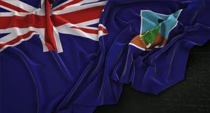 Montserrat Flag Wrinkled On Dark-3D de Achtergrond geeft terug Royalty-vrije Stock Foto's