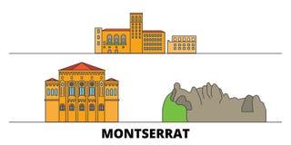 Montserrat flat landmarks vector illustration. Montserrat line city with famous travel sights, skyline, design. Montserrat flat landmarks vector illustration vector illustration