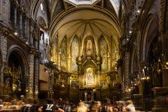 Montserrat, Hiszpania, Wrzesień 20th, 2016: Wnętrze Santa Maria Fotografia Stock