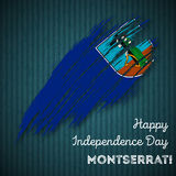 Montserrat Independence Day Patriotic Design. Expressive Brush Stroke in National Flag Colors on dark striped background. Happy Independence Day Montserrat Stock Photography