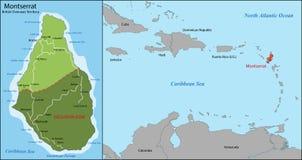Montserrat-Karte Lizenzfreie Stockfotografie