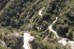 Montserrat, la cabina di funivia al monastero Fotografie Stock Libere da Diritti