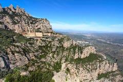 Montserrat monaster wysoki up w górach blisko Barcelona, Catalonia Zdjęcie Stock