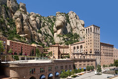 Montserrat Monastery. Is a beautiful Benedictine Abbey high up in the mountains near Barcelona, Catalonia, Spain Stock Photos