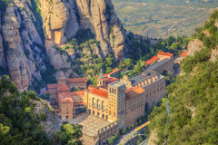 Montserrat Monastery. Aerial view of the monastery Santa Maria de Montserrat located in Montserrat Mountain in Catalonia Spain Stock Photography