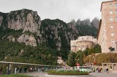 Montserrat Monastery Atrium and Basilica. Monastery Atrium, Basilica and Abbey in the region of Montserrat Mountains in the vicinity of Barcelona, Spain Stock Images