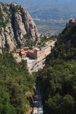 Montserrat monastery. Catalonia, Spain. View from the upper station of the Funicular Sant Joan monastery at Montserrat. Catalonia, Spain Royalty Free Stock Photography