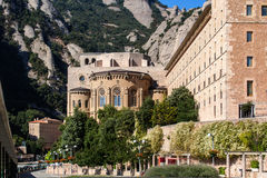 Montserrat monastery front view Stock Photos