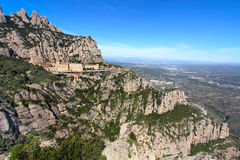 Montserrat Monastery high up in the mountains near Barcelona, Catalonia Stock Photo