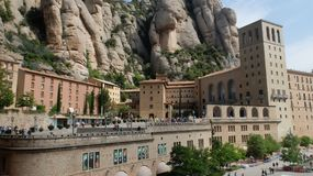 The Montserrat Monastery. The monastery of Montserrat is the oldest Benedictine monastery in Spain. It is located on the high mountain of the same name stock photography