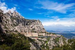Montserrat Monastery near Barcelona, Catalonia, Spain. Montserrat Monastery is a spectacularly beautiful Benedictine Abbey high up in the mountains near Royalty Free Stock Photography