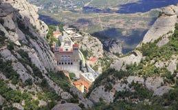 Montserrat Monastery, vista aérea em Catalonia, Espanha imagens de stock