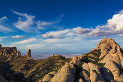 Montserrat mountains in Catalonia, Spain. View from Montserrat mountains on a beautiful summer day Stock Images