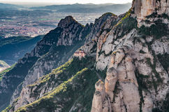 Montserrat mountains in Spain from observation place. Montserrat mountains, beautiful Benedictine Abbey high up near Barcelona, Spain Stock Images