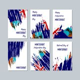 Montserrat Patriotic Cards for National Day. Expressive Brush Stroke in National Flag Colors on white card background. Montserrat Patriotic Vector Greeting Stock Images