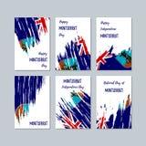 Montserrat Patriotic Cards voor Nationale Dag Stock Afbeeldingen