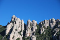 Montserrat peaks. View of sharp peaks in the Montserrat mountains, Catalonia, Spain Royalty Free Stock Photos