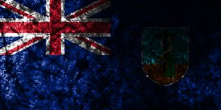 Montserrat grunge flag on old dirty wall, British Overseas Territories, Britain dependent territory flag. Montserrat smoke flag, British Overseas Territories royalty free illustration