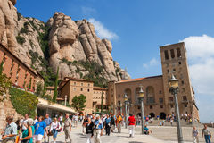Montserrat. Spain. Santa Maria de Montserrat Benedictine Abbey. Montserrat, Catalonia, Spain. Santa Maria de Montserrat is greatest monastery of Catalonia stock photo