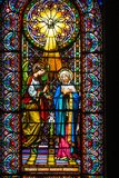 Colored window in Montserrat church royalty free stock image