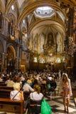 Montserrat church in service stock photo