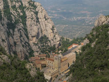 Montserrat, Spain. Santa Maria de Montserrat is a Benedictine abbey located on the mountain of Montserrat, in Monistrol de Montserrat, in Catalonia, Spain Royalty Free Stock Images