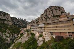 Montserrat Spanien, September 20th, 2016: Santa Maria de Montserrat Abbey Abadia de Montserrat Arkivfoto