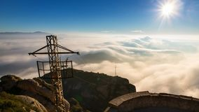Montserrat. On the top of the mountain. Sunrise on the mountain stock footage