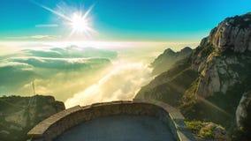 Montserrat. On the top of the mountain. Sunrise on the mountain stock video footage