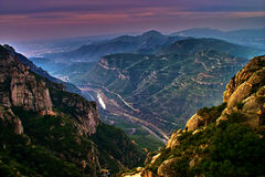 Montserrat - view from Monastery. Montserrat, Catalunysa, Spain -view from monastery located on the mountain Stock Photography