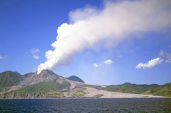 Montserrat Volcano. Active volcano in the Soufriere Hills Montserrat Lesser Antilles Leeward Islands West Indies Caribbean with solidified lava fields down to Stock Photography