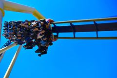 Montu Rollercoaster Just go ride it! at Bush Gardens Tampa Bay Theme Park. Tampa, Florida. December 26, 2018 Montu Rollercoaster Just go ride it! at Bush Gardens stock photos
