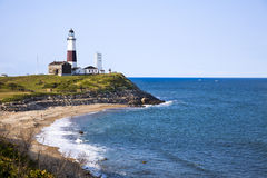 Montuak Lighthouse. And Atlantic Ocean Royalty Free Stock Photography